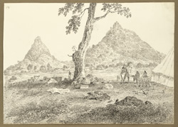 View of rocky hills from D'Oyly's camp at Raghunathpur (West Bengal); on one hill a signalling tower (part of the chain from Calcutta to Chunar); an elephant, tent and camp equipment in foreground